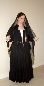 Black Venetian Gown with Over Gown