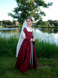 Red Silk Kirtle Side Front