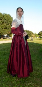 Wine Red Silk Kirtle Side Front