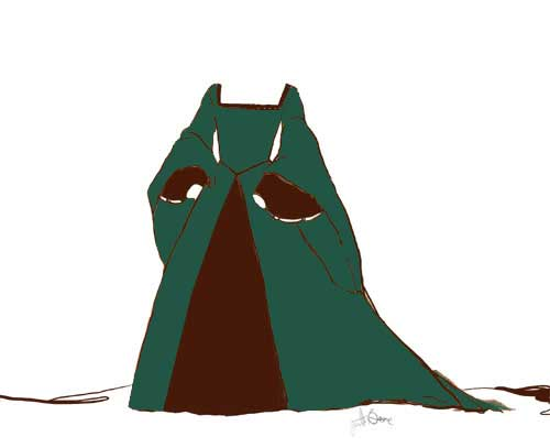Green Tudor Gown Design Sketch