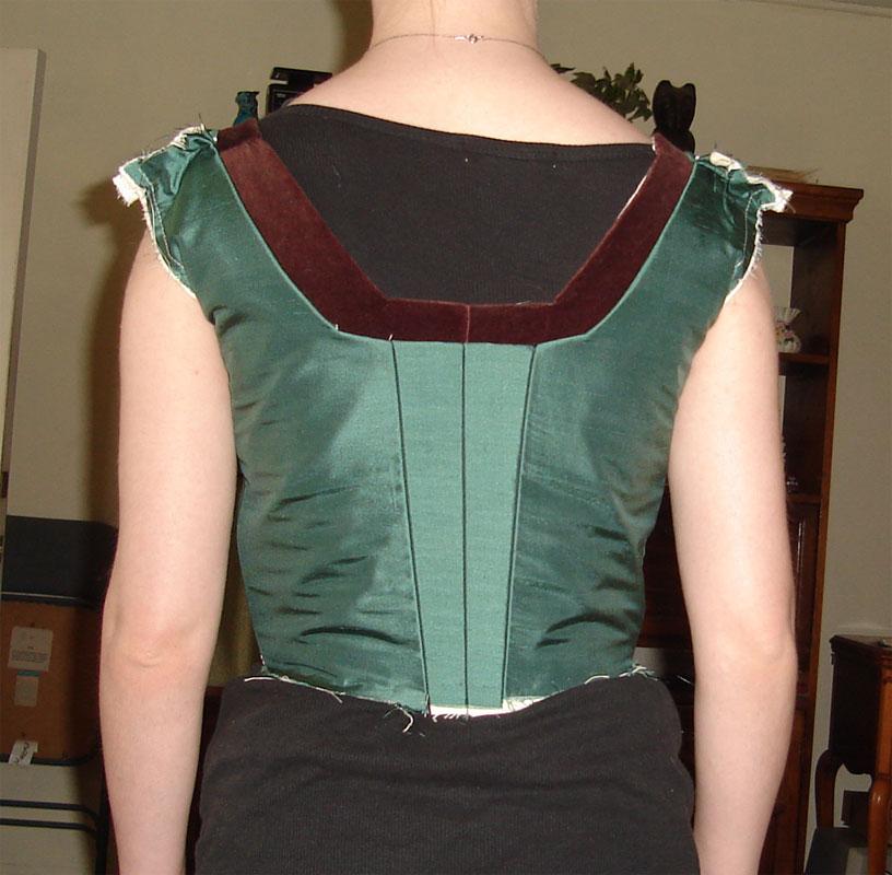 Fitting the green silk Tudor bodice
