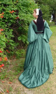 Green Silk Tudor Gown with Train
