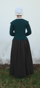green wool elizabethan jacket back shot