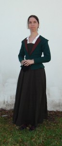 green wool elizabethan jacket front shot