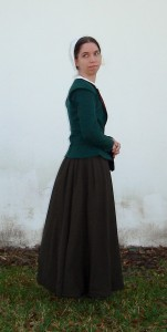 green wool elizabethan jacket side shot