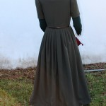Olive Wool Fitted Gown Back View