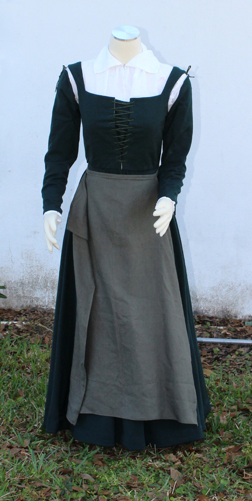 Spiral laced green wool kirtle with linen apron