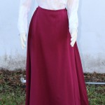 linen cotton blend shirt and cranberry wool petticoat