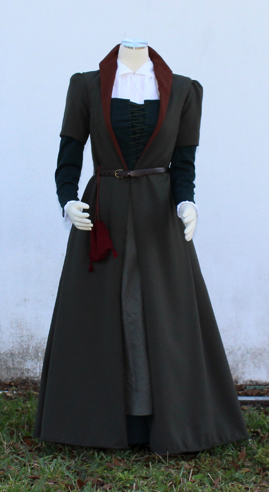 olive wool fitted english gown