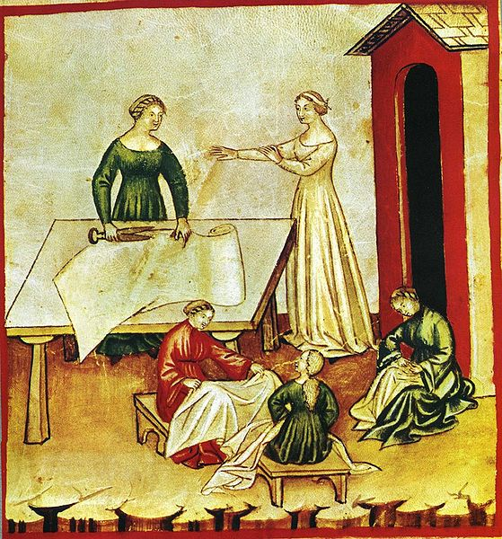 Seamstresses sewing smocks or linen goods? Tacuina Sanitatis, Wikipedia