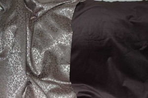 saxon gown fabrics, brown velveteen and jaquard