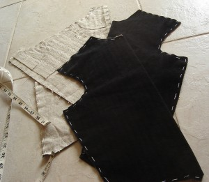 Black velvet jerkin pad-stitched interlining