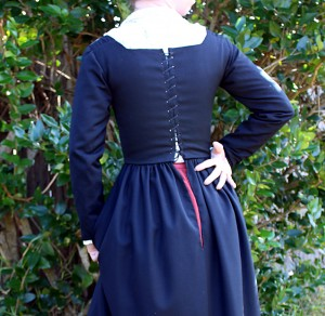 Faux Blackwork shirt and wool kirtle spiral laces up the back