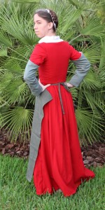 red wool hand sewn kirtle back