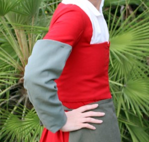 red wool hand sewn kirtle pin