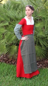 red wool hand sewn kirtle side front