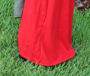 red wool hand sewn kirtle skirt gore
