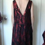 Deep V back red and black sequined 1920's inspired dress