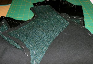 Under side of the doublet back, more canvas and pad stitched wool.