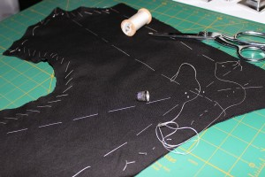 Doublet front basted and shaped.