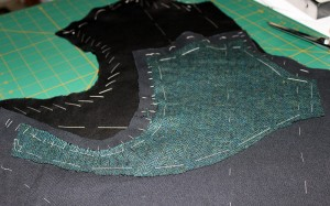 Under side of the doublet front, canvas and pad stitched wool