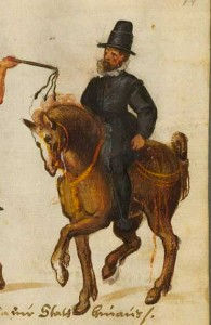 1580ish from Kostume und Sittenbilder. Black Trunkhose, with possibly Ropilla or long skirted jerkin.