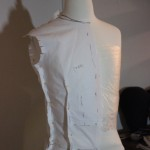 Pattern test on the dressform, I moved from two darts to one