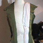 Fussing with calico to form the pleats, they are backwards in this image. Opps!