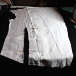 The calico section pinned to the bodice pattern
