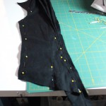 Pinning the pleats into position