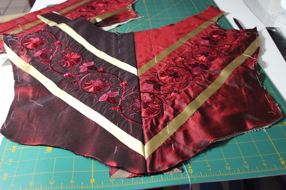 Red silk 18th century stays