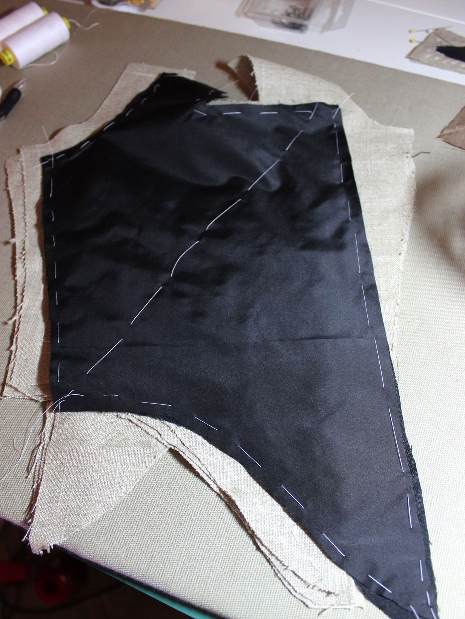 Black taffeta basted in place