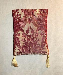 Red and Gold Damask Pouch with Gold Silk Tassels