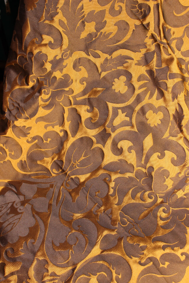 Brown and Gold Silk Damask