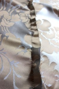 Blue and Gold Silk Damask Sleeve Back Stitched Seam