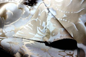 Blue and Gold Silk Damask Sleeve Pieced
