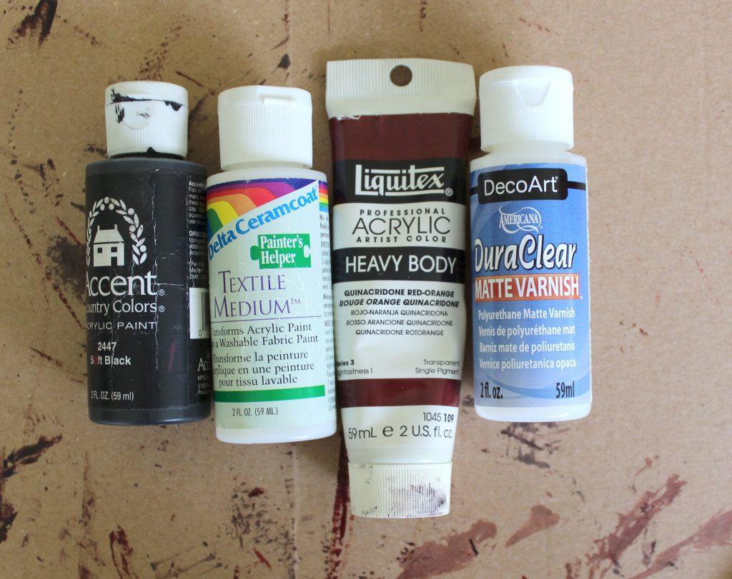 Acrylic paint and textile medium