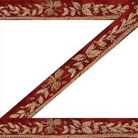 Gold zardozi work on red silk satin ground