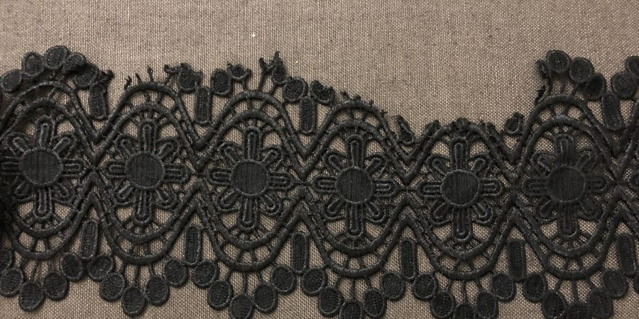Section of torn black lace