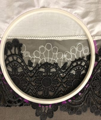 Black lace in hoop with stabilizer
