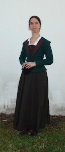 green wool elizabethan jacket front shot