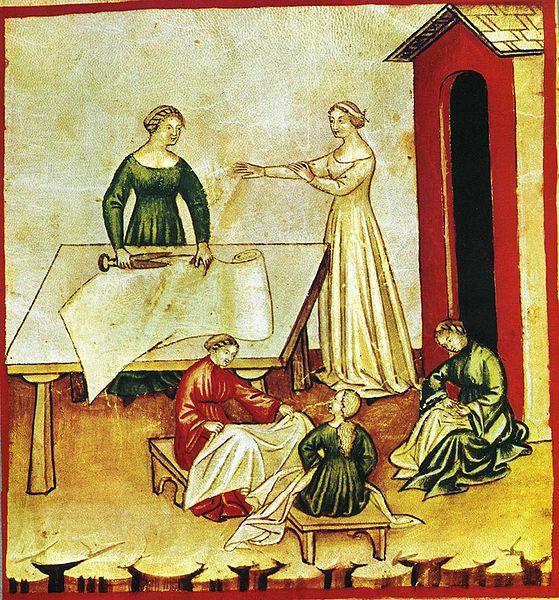 Seamstresses sewing smocks or linen goods? Tacuina Sanitatis, Wikipedia