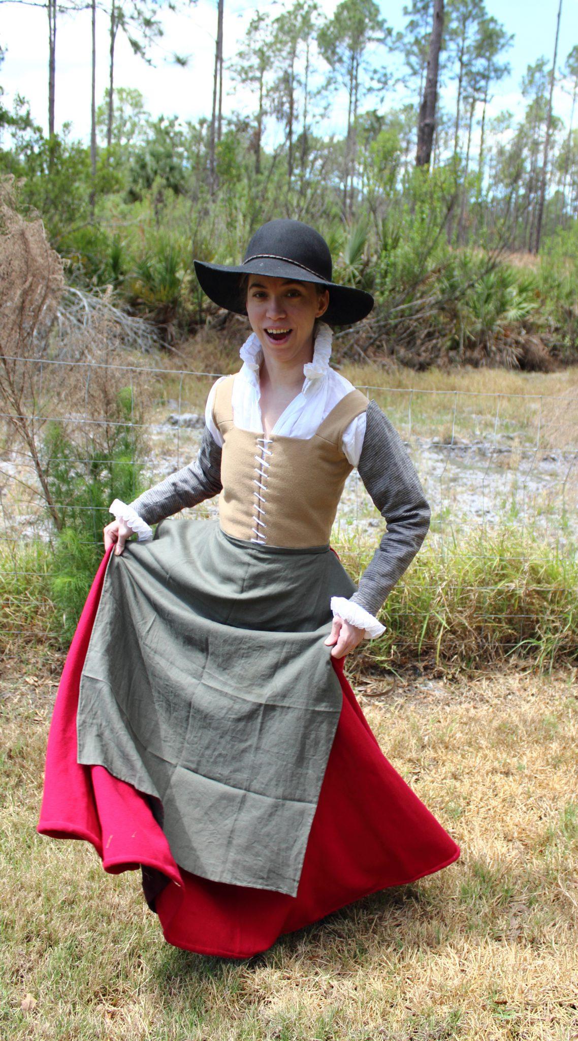 Caramel Wool Petticoat Bodies and Scarlet Wool Skirt