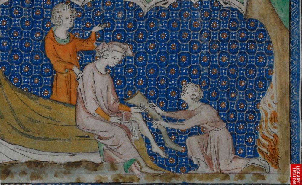 manuscript-man-putting-on-stockings