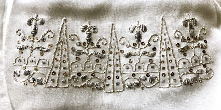 Silver embroidered glove cuff